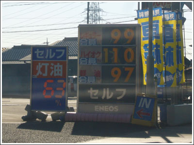 ガソリンの値段が100円を切っていた