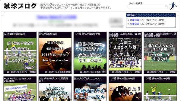 蹴球ブログをリニューアル、ついでにWPtouchでスマホ対応!